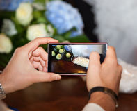 Phone and hands (blurred effect) Stock Photo