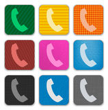Phone Handset sign on colorful app icons Stock Photos