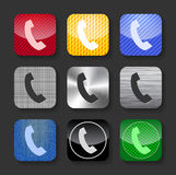 Phone handset sign on glossy and metallic icons Royalty Free Stock Photos