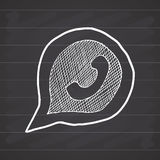 Phone handset in speech bubble hand drawn icon, vector illustration on chalkboard background Stock Image