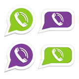 Phone handset in speech bubble icon.  Stock Photos