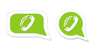 Phone handset in speech bubble icon. Vector illustration Stock Photography