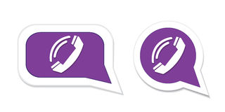 Phone handset in speech bubble icon. Vector illustration Royalty Free Stock Photography