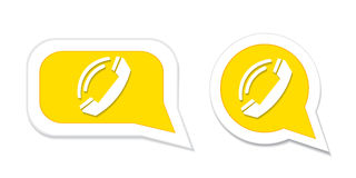 Phone handset in speech bubble icon. Vector illustration. Stock Photos