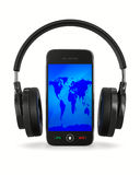 Phone and headphone on white background Royalty Free Stock Images