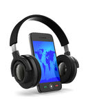 Phone and headphone on white background Stock Photos