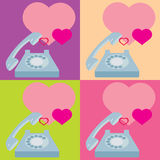 Phone heart. Congratulations on the phone. Valentine's Day. heart Royalty Free Stock Images