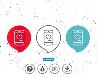 Phone with heart line icon. Social media like. Stock Photography