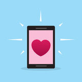 Phone Heart Screen Stock Images