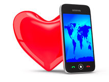 Phone and heart on white background Stock Images