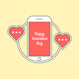 Phone with hearts like messaging Royalty Free Stock Images