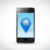 Phone and home locator pointer illustration design Royalty Free Stock Photos