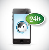 Phone 24 hour customer support illustration. Design over a white background Royalty Free Stock Photo