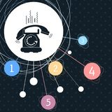 Phone Icon with the background to the point and with infographic style. Illustration Royalty Free Stock Images
