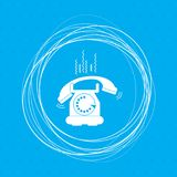 Phone Icon on a blue background with abstract circles around and place for your text. Illustration Stock Photos