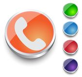 Phone icon on  button Stock Image