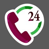 Phone icon  colored sticker 24 hours support. Handset vector ill. Ustration icon.  Layers grouped for easy editing illustration.  For your design Stock Image