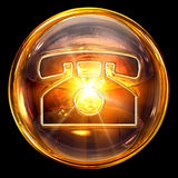 Phone icon glass stock image