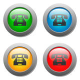 Phone icon glass button set Royalty Free Stock Image