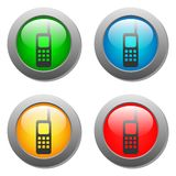 Phone icon glass button set Royalty Free Stock Photo