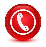 Phone icon glassy red round button. Phone icon isolated on glassy red round button abstract illustration Royalty Free Stock Photo