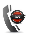 phone icon over a clock Royalty Free Stock Photo