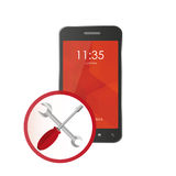 Phone icon for repairs. support and maintenance Stock Images