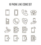 Phone flat icon. Phone icon set. Collection of telephone line icons. 16 high quality logo of communication on white background. Pack of symbols for design Royalty Free Stock Image