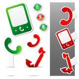 Phone Icon Set. Three Stickers Set.  Stock Illustration
