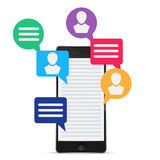 Phone and icon social media Stock Photography