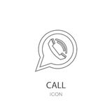 Phone icon in speech bubble. Phone icon in speech bubble on a white background Stock Images