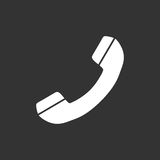 Phone icon vector. Contact, support service sign isolated on black background. Telephone, communication icon in flat style Stock Photo
