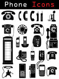 Phone Icons. Phone silhouettes from different ages Royalty Free Stock Image