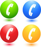 Phone Icons. Bright Colored Phone Icon Set Royalty Free Stock Photography