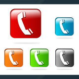 Phone icons. Shiny dimensional phone icons isolated over white Stock Photos