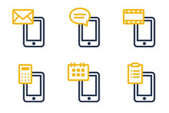Phone icons. Mail, SMS, MMS, calculator, calendar and tasks. Icons are aligned according to the pixel grid. It means that the images are prepared to use in small Royalty Free Stock Images