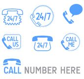 Phone icons. Phone icon, contact us icon, open 24/7 service icon vector Stock Photo