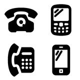 Phone icons. Black vector set of phone icons Royalty Free Stock Photography