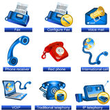 Phone icons 3. Collection of 9 blue phone icons isolated separately on white background. - part 3 Royalty Free Stock Photos