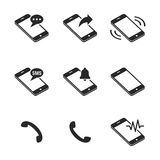 Phone icons. Black on a white background Stock Image