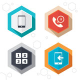 Phone icons. Call center support symbol Royalty Free Stock Photography