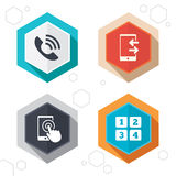 Phone icons. Call center support symbol Royalty Free Stock Photo