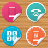 Phone icons. Call center support symbol. Royalty Free Stock Photos
