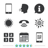 Phone icons. Call center support symbol. Phone icons. Smartphone with Qr code sign. Call center support symbol. Cellphone keyboard symbol. Information, go to stock illustration