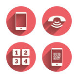 Phone icons. Call center support symbol Stock Photos