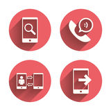Phone icons. Call center support symbol Royalty Free Stock Image