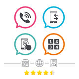 Phone icons. Call center support symbol. Royalty Free Stock Images