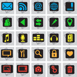 25 phone icons. 25 colour vector  telephone images on a black and grey background Royalty Free Stock Photo