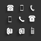 Phone icons Flat Design with shadows Royalty Free Stock Photo