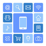 Phone icons. Mobile phone and icons on blue background Stock Image
